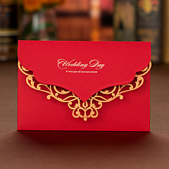 トップ折り 結婚式の招待状-招待状カード 婚約披露パーティー・カード アーティスティック コートボール紙