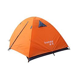 billige Telt og ly-2 personer Telt Dobbelt camping Tent Ett Rom Vanntett Bærbar Ultra Lett (UL) Vindtett Støvtett Sammenleggbar Flanell foret Myggvern