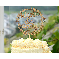 קישוטים לעוגה מותאם אישית זוג קלסי כרום חתונה יום שנה צהוב נושא חוף נושא פרחוני נושא קלאסי נושא וינטג נושא כפרי 1 תיק פולי