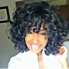 cheap Wigs & Hair Pieces-cheap middle long curly synthetic black wigs for black women ombre color synthetic wig heat friendly