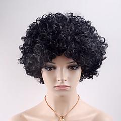 billiga Peruker och hårförlängning-Syntetiska peruker Lockigt Syntetiskt hår Svart Peruk Dam Korta Utan lock