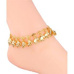 u7® 여성의 발목 발 체인은 18K 진짜 금 / 백금 귀여운 코끼리의 매력은 보석 아이들이 팔찌에 anklets 샌들 도금