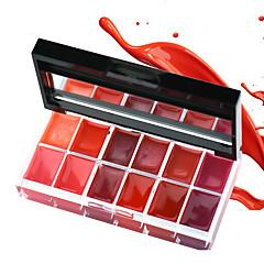 1Pcs 12 Colors Lips Makeup Brand Girl Woman Professional Make Up Lip Gloss Lipstick Cream Palette Set Beauty Brand 25G