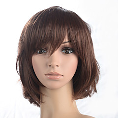 cheap Wigs & Hair Pieces-Synthetic Wig Women's Curly Brown Bob / Short Bob / With Bangs Synthetic Hair With Bangs Brown Wig Medium Length Capless Auburn