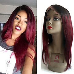cheap Wigs & Hair Pieces-Remy Human Hair Glueless Lace Front Lace Front Wig Brazilian Hair Straight Wig 130% Density with Baby Hair Ombre Hair Natural Hairline African American Wig 100% Hand Tied Women's Short Medium Length