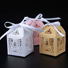 cheap Favor Holders-Round Square Cuboid Pearl Paper Favor Holder with Ribbons Printing Favor Boxes - 50
