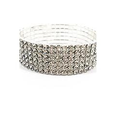 Bracelete de jóias de noiva e diamante elástico feminino estilo elegante