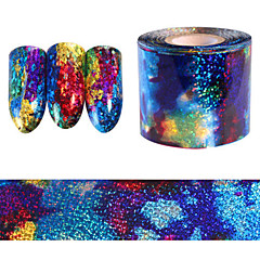 5*20CM Gradient Starry Sky Nail Foil Blue Holographic Paper Nail Art Sticker