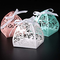 cheap Favor Holders-Round Square Creative Pearl Paper Favor Holder with Ribbons Printing Favor Boxes - 50