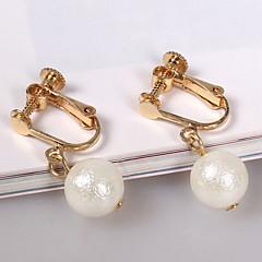 ドロップイヤリング クリップイヤリング 人造真珠 合金 ゴールド ジュエリー のために 日常 カジュアル 1ペア