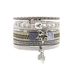 Lederen armbanden Vriendschap Modieus Bohemia Style Met de hand gemaakt Leder Strass Legering Bloemvorm Stervorm Sieraden Voor Bruiloft
