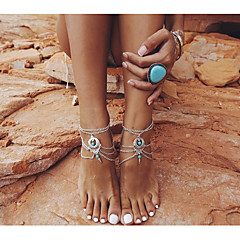 Anklet/Bracelet Flower Bowknot Star Friendship Fashion Vintage Rock Turkish Alloy Silver Women's Jewelry 2pcs