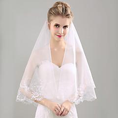 Voal de Nuntă Un nivel Voaluri Lungime Până la Vârfurile Degetelor Margine cu Aplicație de Dantelă Organza