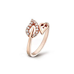 cheap Rings-Fashion Crystal Hollow Leaves Ring Peach Heart Adjustable Ring Party Halloween Daily Casual Jewelry Alloy Midi Rings 1pcAdjustable Gold Silver