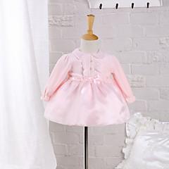 billige Babykjoler-Baby Pige Rosette I-byen-tøj Ensfarvet Langærmet Bomuld Kjole