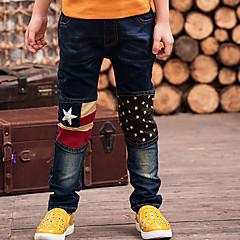 baratos Roupas de Meninos-Para Meninos Jeans Diário Sólido Inverno Primavera Outono Algodão Desenho Azul