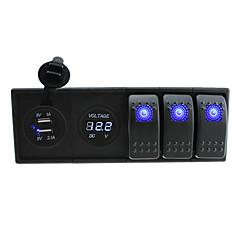 billiga Bildelar-DC 12V / 24V ledde digitala 3.1a dubbla USB-laddare voltmeter uttag med rocker växlar bygel ledningar och hushållaren