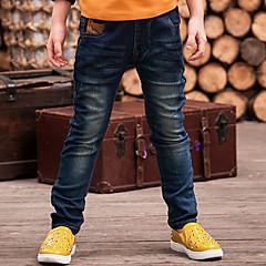 baratos Roupas de Meninos-Infantil Para Meninos Desenho Sólido Algodão Jeans