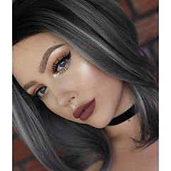 billiga Peruker och hårförlängning-Syntetiska snörning framifrån Naturligt vågigt Syntetiskt hår Naturlig hårlinje Peruk Dam Mellan Spetsfront Grå
