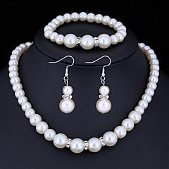 baratos Conjuntos de Bijuteria-Mulheres Cristal Conjunto de jóias - Imitação de Pérola, Strass Básico Incluir Branco Para Presentes de Natal Casamento Festa