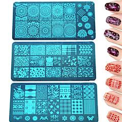 1pcs diy divat sajtolás lemez színes&gyönyörű kép manikűr Beauty stencil köröm rozsdamentes acél sajtolás lemez lengyel köröm eszköz