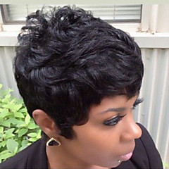 cheap Human Hair Capless Wigs-new style fluffy black short hair human hair wig suitable for all kinds of people