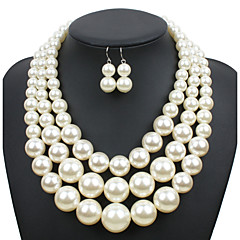 Women's Jewelry Set Euramerican Wedding Party Special Occasion Daily Casual Pearl Round 1 Necklace 1 Pair of Earrings