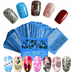 baratos -48pcs/set Adesivos para Manicure Artística Decalques de transferência de água Lace adesivo maquiagem Cosméticos Designs para Manicure