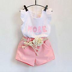 tanie Odzież dla dziewczynek-Brzdąc Dla dziewczynek Kwiatowy / Falbany Nadruk Bez rękawów Bawełna Komplet odzieży