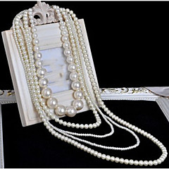 Women's Layered Necklaces Pearl Necklace Cross Pearl Multi Layer Long Bridal Costume Jewelry Jewelry For Wedding Party Special Occasion