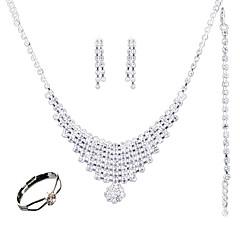 baratos Conjuntos de Bijuteria-Mulheres Conjunto de jóias - Fashion, Euramerican Incluir Branco Para Casamento Festa Diário / Anéis