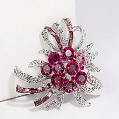 cheap Pins and Brooches-Women's Brooches Floral Alloy Purple Fuchsia Jewelry For Wedding Party Special Occasion Halloween Daily Casual