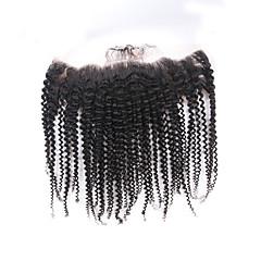 billiga Peruker och hårförlängning-ELVA HAIR Brasilianskt hår 4x13 Stängning Lockigt / Klassisk / Kinky Curly Fria delen / Mittparti / 3 Del Schweizisk spetsperuk Äkta hår Dagligen