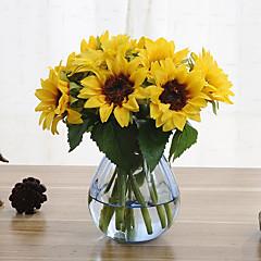 6 sucursais flores artificiais de girassol decoração de casa oferta de casamento