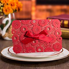 ラップ式 結婚式の招待状 50-招待状カード フォーマル ビンテージ フローラル 花のスタイル カード用紙 リボン