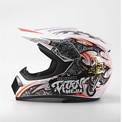 tanie Kaski i maski-mejia off-road wyścigi motocyklowe kask z pełnym tłumieniem trwały kask motorsportowy biały / pomarańczowy kolor