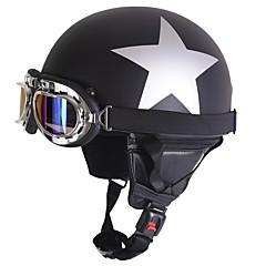 halpa Kypärät ja maskit-puoli kasvot moottoripyörä kypärä hopea tähti kuvio joustava abs katu moottoripyörä kypärä matta musta väri