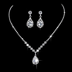 cheap Necklaces-Women's Rhinestone Zircon Silver Plated Pendant Necklace  -  Basic Silver Necklace For Wedding Party Anniversary