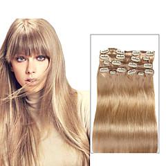 Χαμηλού Κόστους Deluxe Hair-Κουμπωτό Επεκτάσεις ανθρώπινα μαλλιών Ίσιο Εξτένσιον από Ανθρώπινη Τρίχα Φυσικά μαλλιά Γυναικεία - Μπεζ Ξανθό
