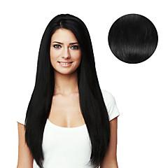 baratos Extensões de Cabelo Natural-Com Presilha Extensões de cabelo humano Liso Cabelo Humano Diário