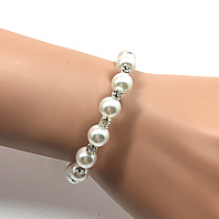 cheap Bracelets-Women's Cuff Bracelet Tennis Bracelet Imitation Pearl Fashion Pearl Rhinestone Circle Jewelry Christmas Gifts Wedding Party Special