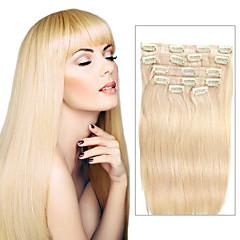 Χαμηλού Κόστους Deluxe Hair-Κουμπωτό Επεκτάσεις ανθρώπινα μαλλιών Ίσιο Φυσικά μαλλιά Blonde