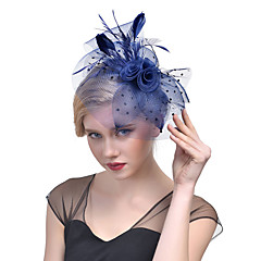 Women's Retro Feather / Tulle / Net Headpiece-Wedding / Special Occasion Flower Fascinators Bride Headbands 1 Piece Hair Accessories (More Colors)