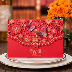 Dobrado no Topo Convites de casamento 50-Cartões de convite Estilo Formal Estilo vintage Estilo Flôr Estilo Borboleta Estilo FloralPapel