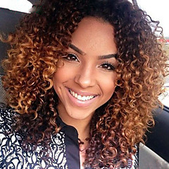 cheap Wigs & Hair Pieces-Virgin Human Hair Glueless Lace Front Wig Peruvian Hair Kinky Curly Ombre Wig Middle Part / With Baby Hair 150% 10-26 inch Natural Hairline / African American Wig / 100% Hand Tied Auburn / Ombre