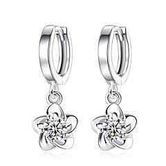 Χαμηλού Κόστους Φλοράλ κοσμήματα-Γυναικεία Cubic Zirconia Κρεμαστά Σκουλαρίκια - Cubic Zirconia, Επιμεταλλωμένο με Πλατίνα Λουλούδι Λευκό / Βυσσινί Για Γάμου / Πάρτι / Καθημερινά