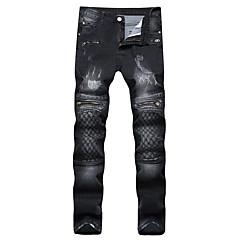 Męskie Punk & Gotyckie Rozmiar plus Szczupła Prosta Jeansy Spodnie - Check Pattern, Linie / fale Grid / chusta wzorców Haft