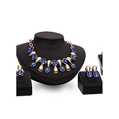 billige Smykke Sett-Dame Smykke Sett Multi-stein Erklæringssmykker Mote Vintage Personalisert Euro-Amerikansk Luksus Smykker Syntetiske Edelstener Gullbelagt