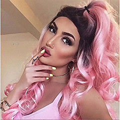 cheap Wigs & Hair Pieces-Synthetic Wig Women's Wavy / Body Wave Pink Synthetic Hair Ombre Hair / Dark Roots / Natural Hairline Pink Wig Long Capless Pink