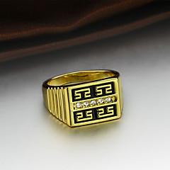 billige Herre Smykker-Herre Kvadratisk Zirconium Zirkonium / Guldbelagt Forlovelsesring / Ring - Kvadrat Klassisk / Vintage / Mode Guld Ring Til Bryllup / Fest